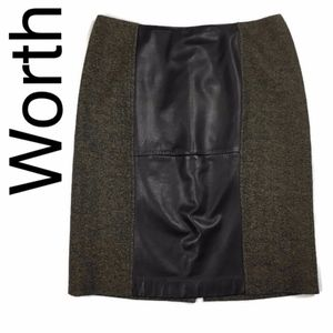 Worth tweed with leather panel pencil skirt brown